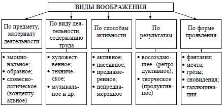 Рис. 15. Классификация видов воображения